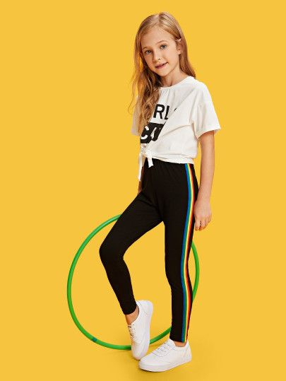 5aac3cfd52 Shop Girls Rainbow Striped Tape Side Leggings online. SheIn offers Girls  Rainbow Striped Tape Side