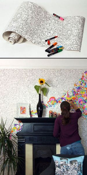 Wallpaper you can color. I would love   this! So many possibilities :)