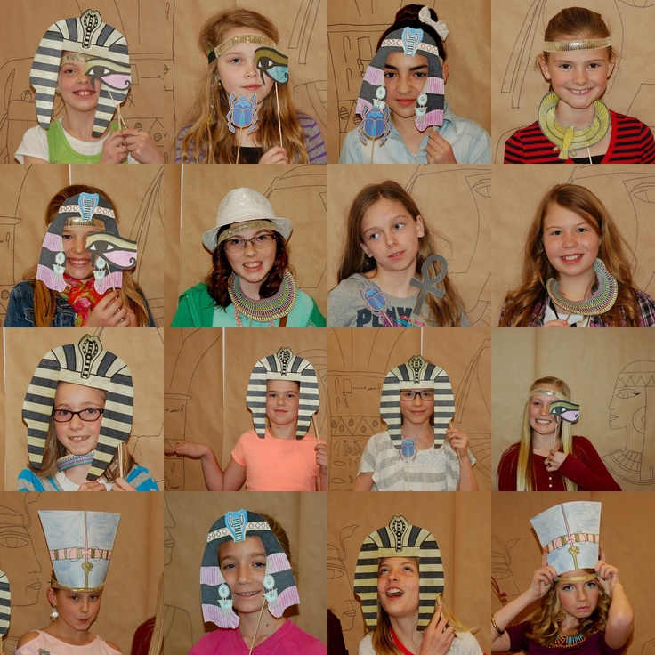 Egyptian photo booth props...love this idea!!  Could have an Egyptian party on the last day.  4th or 5th?