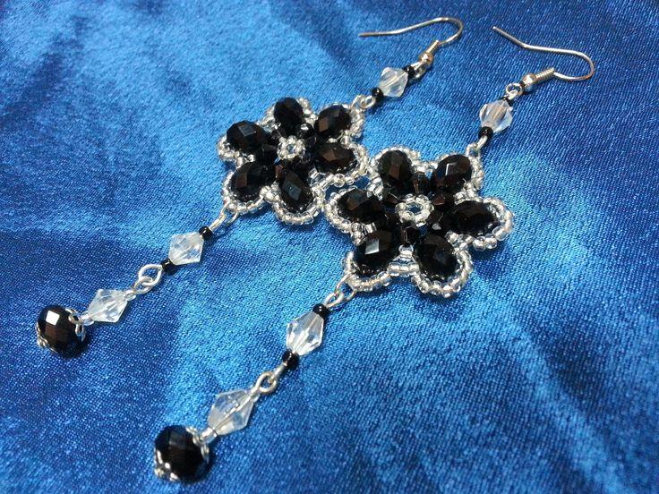 Хрустальные серьги. Бисероплетение / Crystal earrings