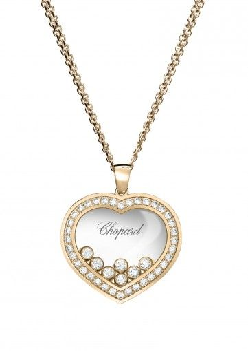HAPPY DIAMONDS ICONS PENDANT  18-KARAT ROSE GOLD AND DIAMONDS  NEW    Original, timeless and at the very heart of Chopard's women's line, the Happy Diamonds Icons line combines feminine style with jewelry excellence. This large heart-shaped pendant in 18-karat rose gold set with diamonds preciously frames the freely moving diamonds as they dance between the two sapphire crystals in a celebration of liberty 14.5k USD