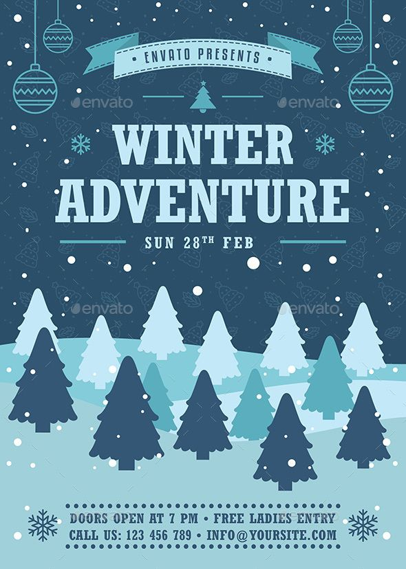 Winter Adventure Flyer Template Vector EPS, AI Illustrator