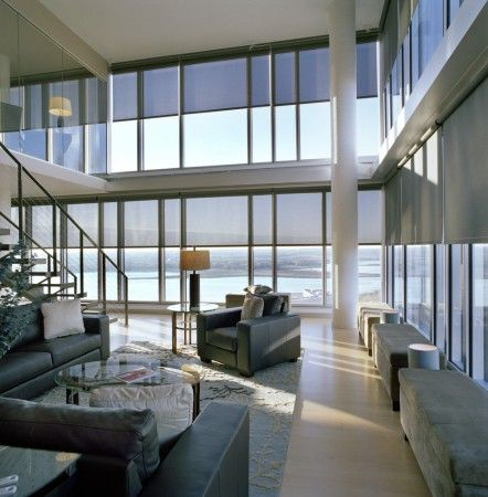 Clean roller shades that you don't notice but are highly functional. Making an appt with the Hunter Douglas folks now.