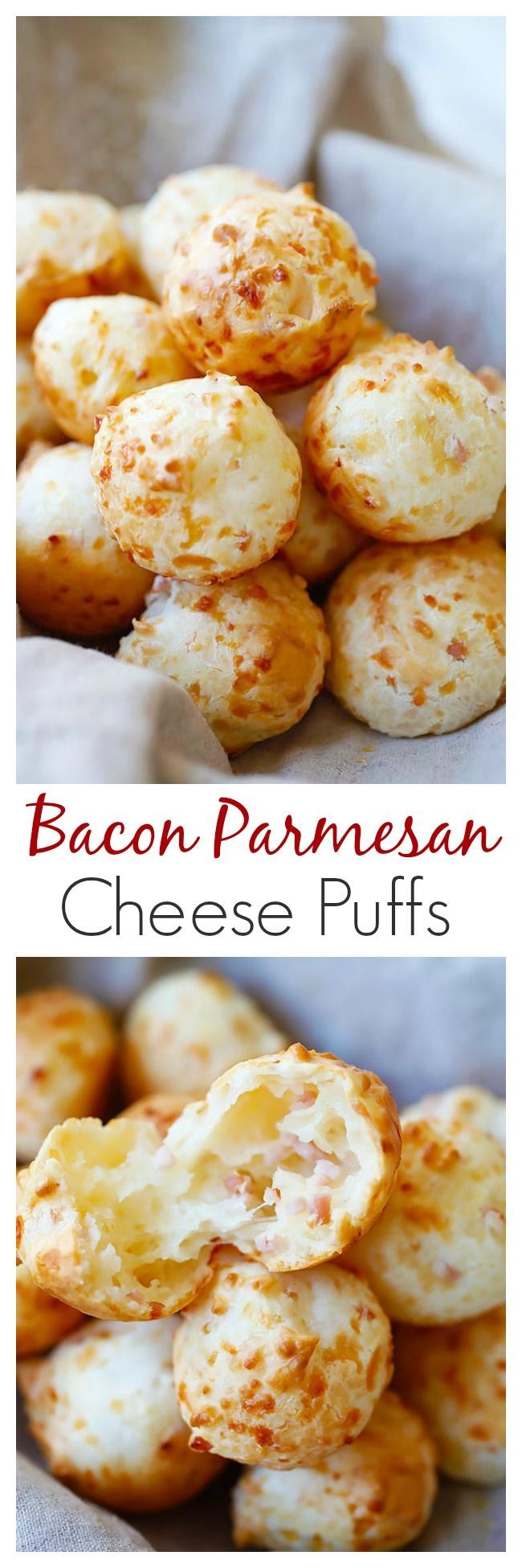 Bacon Parmesan Gougeres - cheesy and savory Gougeres or French cheese puffs recipe. Every bite is loaded with bacon bits and Parmesan cheese, so good!