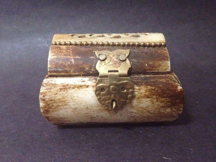 Estate Find - Vintage Camel Bone Trinket Box w/ Brass Details - Great Condition