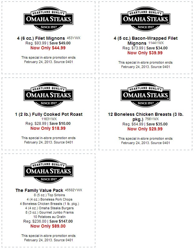 OmahaSteaks.com: 5 Printable Coupons Finest Omaha Steaks and Gourmet Gifts via http://www.AmericasMall.com/omahasteaks-gourmet-food-gifts