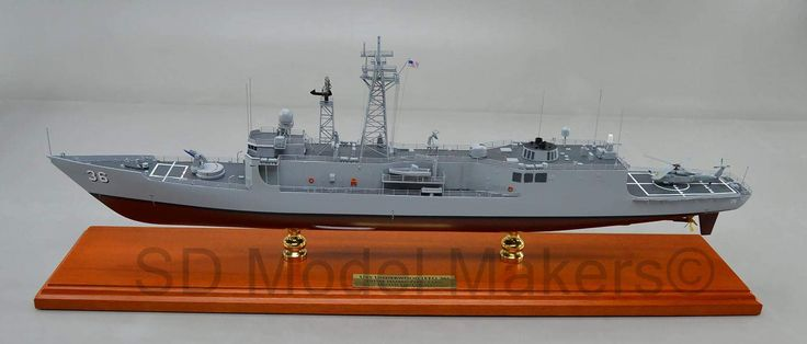 """USS Underwood FFG-36 -  27.8"""" (1/192 scale) Replica Model (1993-97 service era) USS Underwood (FFG-36) was the twenty-seventh ship of the Oliver Hazard Perry-class of guided-missile frigates, named for Captain Gordon Waite Underwood (1910–1978). SD Model Makers builds replica ship models in virtually ANY size or scale desired! Contact us for a quote. www.sdmodelmakers.com"""
