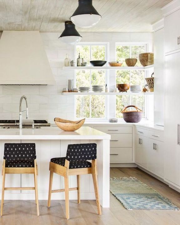 BECKI OWENS- Kitchen Trend: Open Shelving in Front of Windows