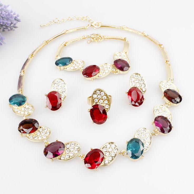 Best Seller Bee Shape 18K Gold Plated Austrian Crystal Necklace Bracelet Ring Earrings Jewelry Set For Women Wedding Set