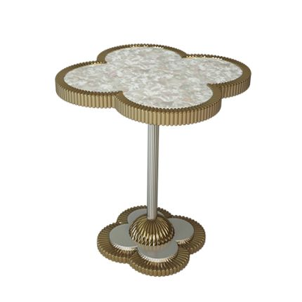 This QUATREFOIL side table is a classic MARI IANIQ design. It features our favourite, ever-fashionable four-leaf clover motif, which is found rendered in the finest materials in private jewellery collections. This classic shape is scaled up to form the top of the table, finished with superb nacre inlays for the height of luxury and sophistication.#quatrefoil #handmade #gothic #nacre #gold #motherofpearl #sidetable #interiors #decor #highend #luxury #design #MARIIANIQ