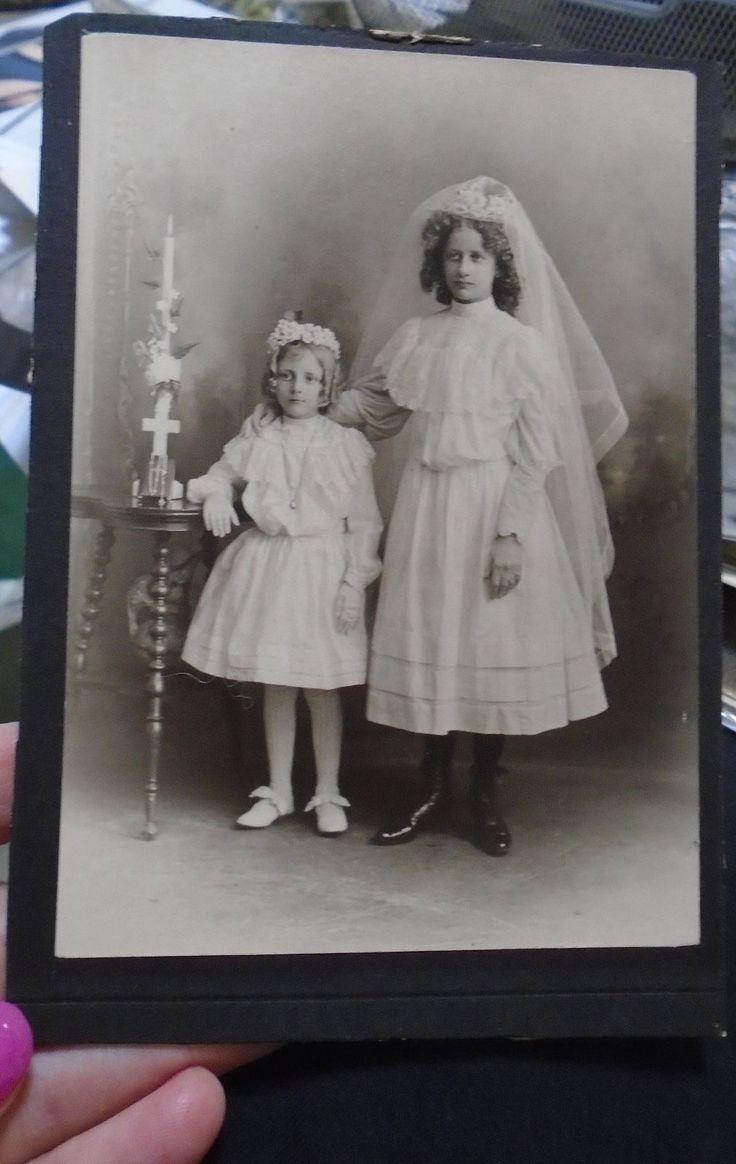 Антикварные старинные фотографии маленьких девочек первого святого причастия платье вуаль цветы | eBay