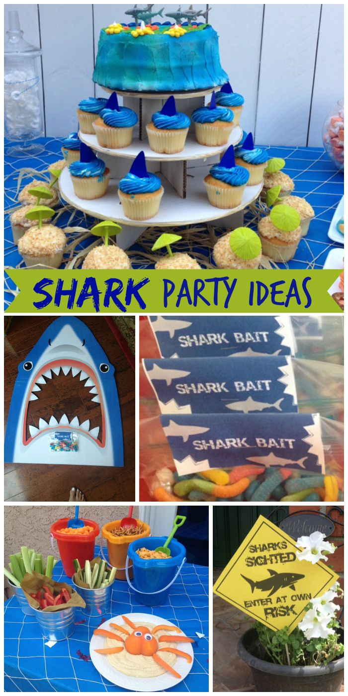 A shark swim party is such a great theme for a boy birthday, lots of under the sea ideas! See more party ideas at CatchMyParty.com!