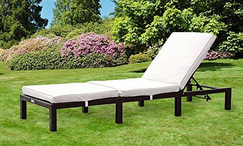 Comfy Living Reclining Rattan Sun Lounger in Black---84.99---