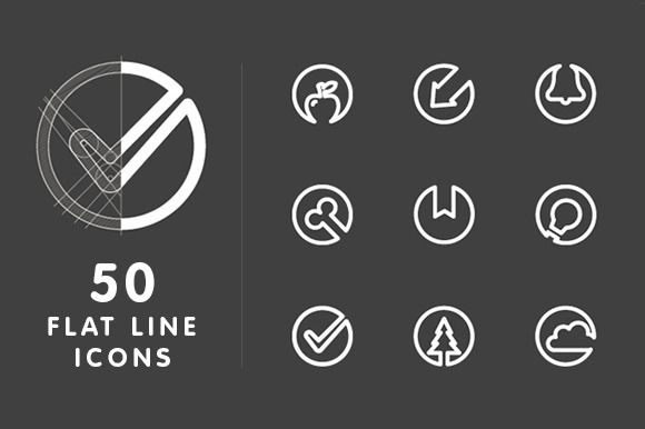 50 Flat Line Icons by Lazyvector on Creative Market