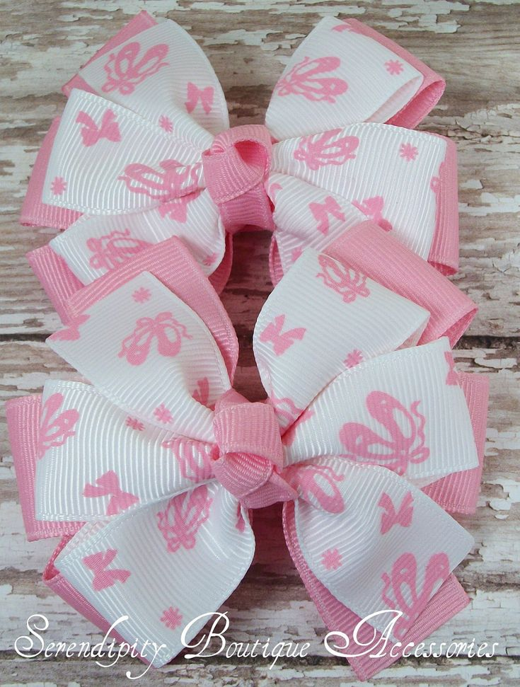 Set of 2 Pink and White Ballet Slippers Stacked Pinwheel Hair Bows. $5.99, via Etsy.