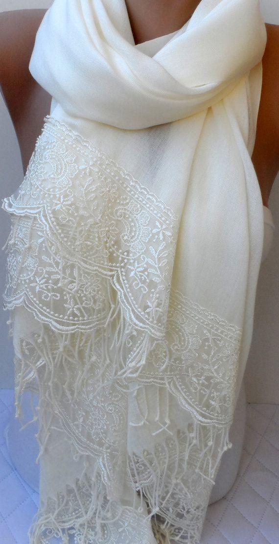 423ea4c01cc Summer Bridal shawl in ivory Wedding shawls Ivory Pashmina shawl ...