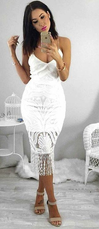 #fall #outfits ·  Lace Frindge White Dress + Sandal Heels