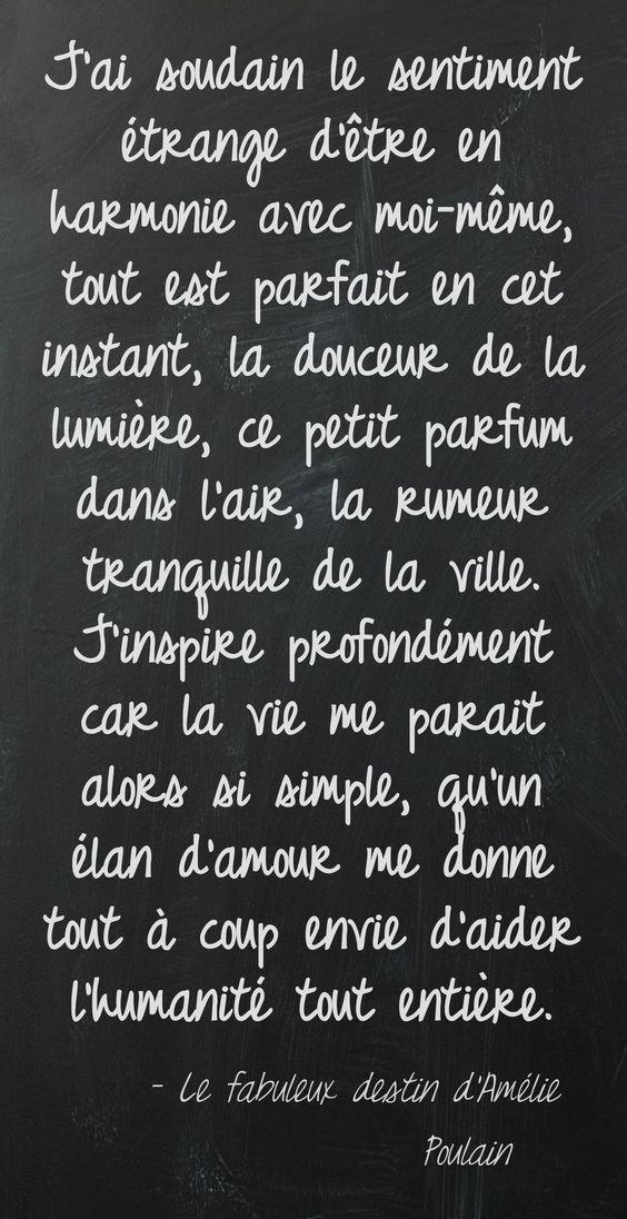 Quote ... 'Le Fabuleux Destin d'Amélie Poulain',  C'est tellement bon de ressentir ça!!: