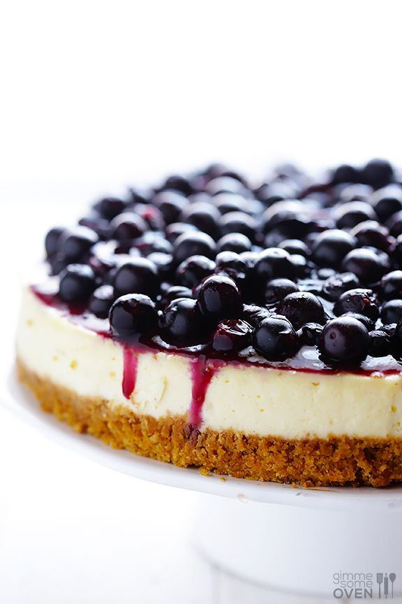 This delicious blueberry cheesecake is topped with a fresh blueberry topping, and made with lighter cream cheese and Greek yogurt.