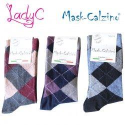 MASK-CALZINO conf.3 calza cotone caldo lunga unisex disegno quadri