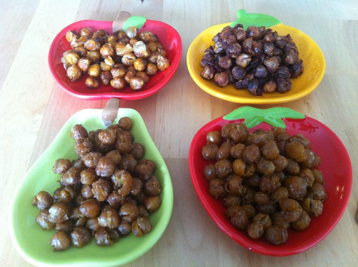 Roasted Chickpeas - 4 Ways.  Go get the recipe at: http://kristenyarker.com/blog/roasted-chickpeas-4-ways
