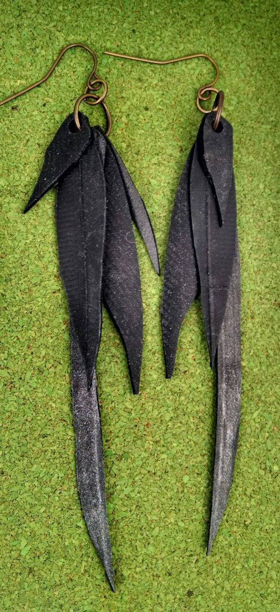 Long feathery rubber inner tube earrings by becktesch on Etsy, $30.00