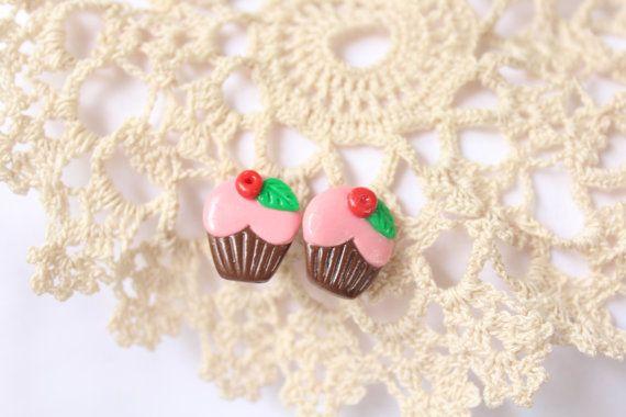 Earrings cupcakehandmade cupcakerose от LittleHappyBoom на Etsy