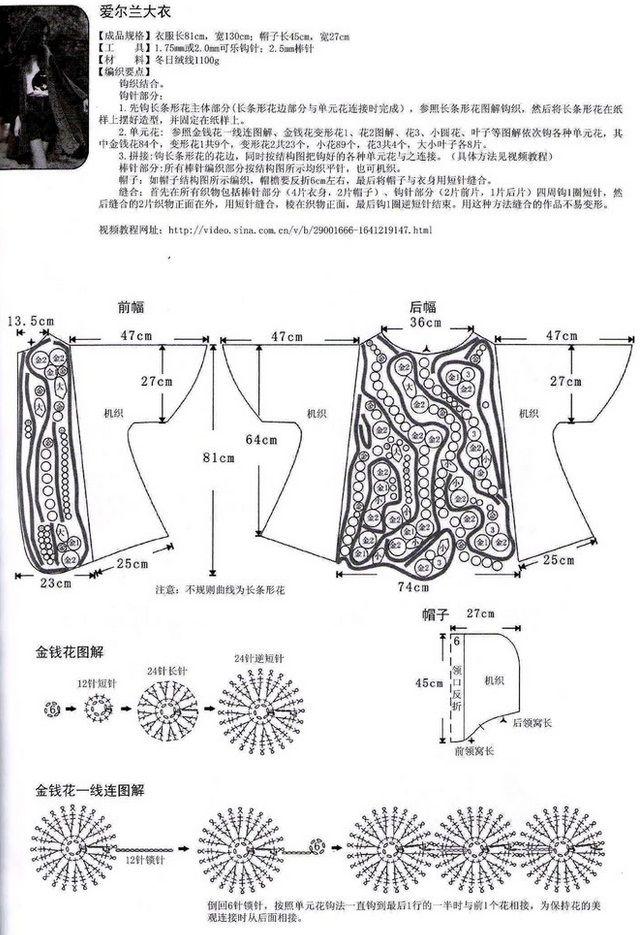 Вязание пальто крючком