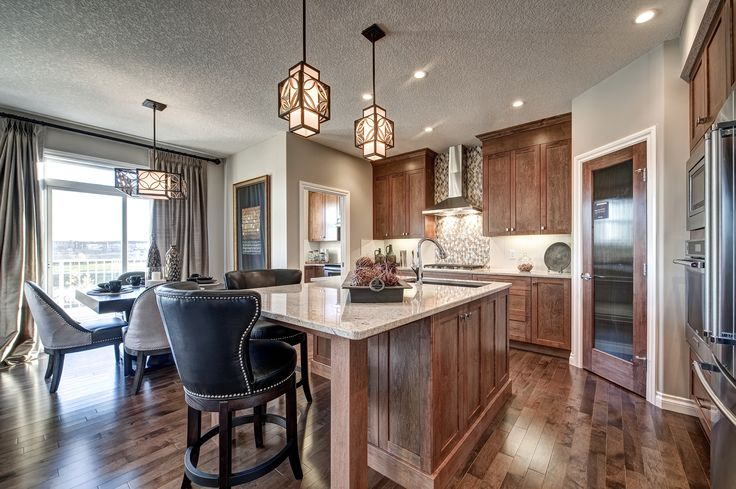 Kitchen design from our Windsor showhome in Saddlestone of Calgary, Alberta.