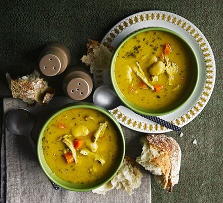 Herby chicken & butter bean soup: This rustic, chunky soup uses up leftover roast chicken and is packed with flavour from fresh rosemary, sage and thyme