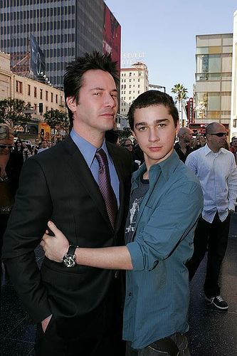 Keanu Reeves and Shia LaBeouf at the premiere of Constantine