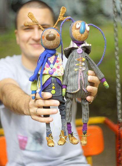 """Куклы """"Лось и Зайц - друзья"""" - лось,заяц,дружба,мужчина,рога,трогательный подарок"""