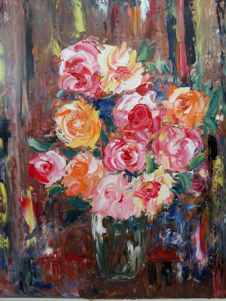 11 роз в прозрачной вазе 40×60 Холст натянутый на оргалите 300 $ Ira Rudnytskaya авторская работа