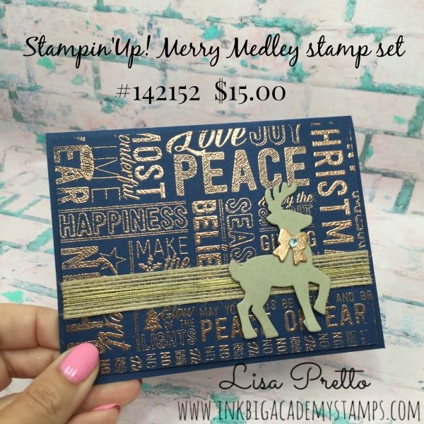 Stampin'Up! Merry Medley stamp set, Santa's Sleigh Thinlit Dies, navy, copper, merry christmas