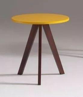 mesa lateral redonda alta decorativa alba laca amarelo sala