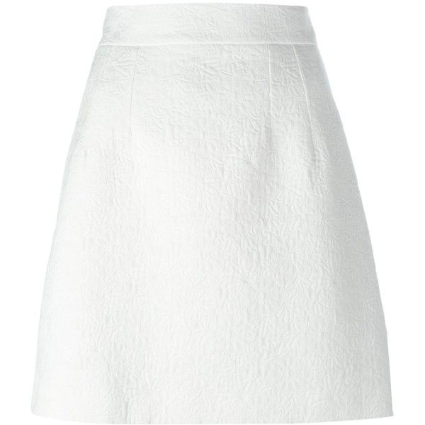 Dolce & Gabbana daisy jacquard skirt (2.034.220 COP) ❤ liked on Polyvore featuring skirts, mini skirts, white, short mini skirts, daisy skirt, white straight skirt, short skirts and a line mini skirt
