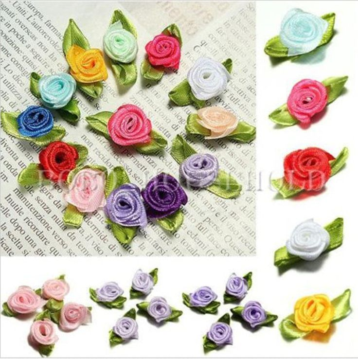 100Pcs Ribbon Rose DIY Wedding Flower Satin Decor Bow Appliques Craft Sewing Leaves lace fabric for cloth GM198-GM202
