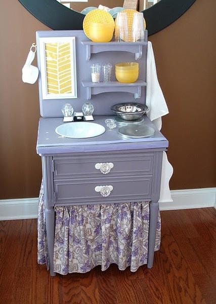 Adorable homemade play kitchen