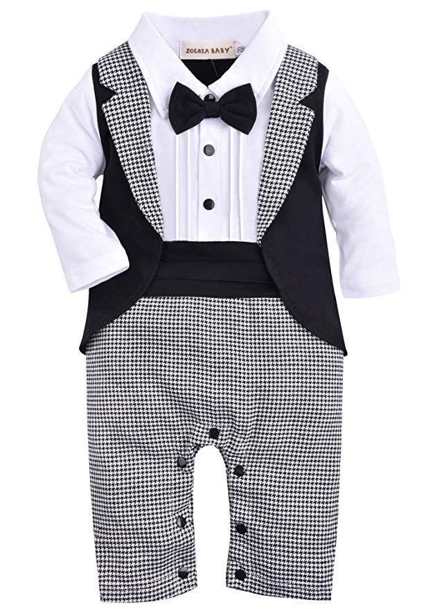 947674b8f64a4 ZOEREA 1pc Baby Boys Tuxedo Gentleman Onesie Romper Jumpsuit Wedding Suit 3- 18 M (Label 80 Age 6-9 Months