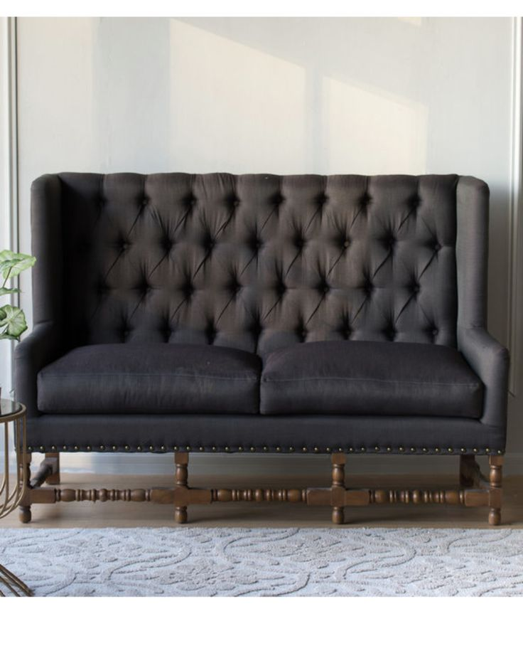 Charcoal Tall Buttoned Back Sofa Allissias Attic Vintage French Style