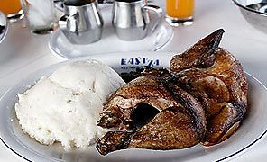 Sadza or Mielie Pap with chicken, African Food