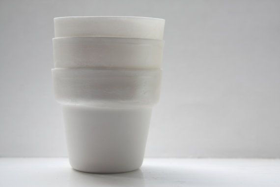 Pure white fine bone china planter with a hint of by madebymanos, £19.00