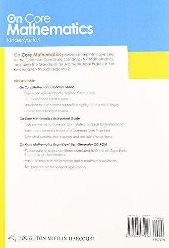 Houghton Mifflin Harcourt On Core Mathematics: Student Workbook Grade K