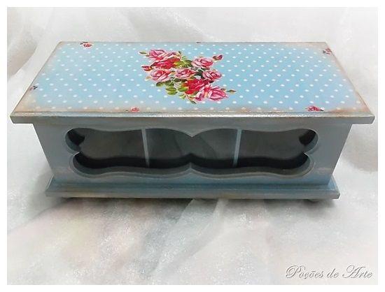 Lojinha Poções de Arte: Caixa de Chá - Floral Azul.