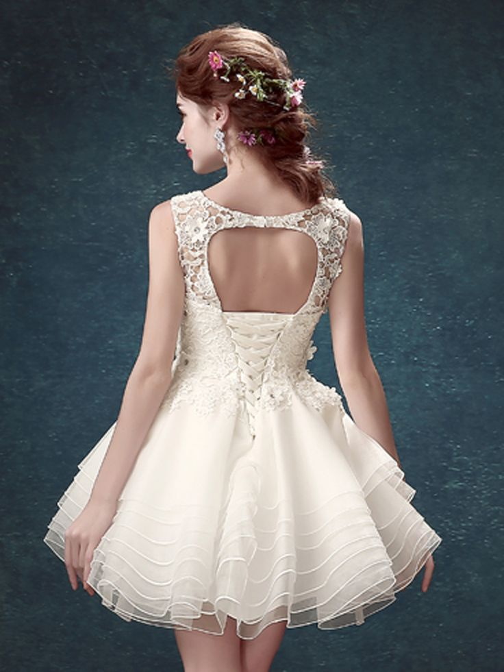 White Crystal Applique Cut Out Lacing Back Homecoming Dress