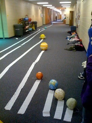 awesome teaching idea. take kids out in the hall and let them use toilet paper to show how far away the planets are from eachother