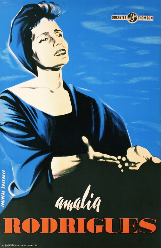 """Amalia Rodrigues (by Bauduge Jouineau / 1948) Rare poster for Amalia Rodrigues, the most famous """"Fado"""" singer"""