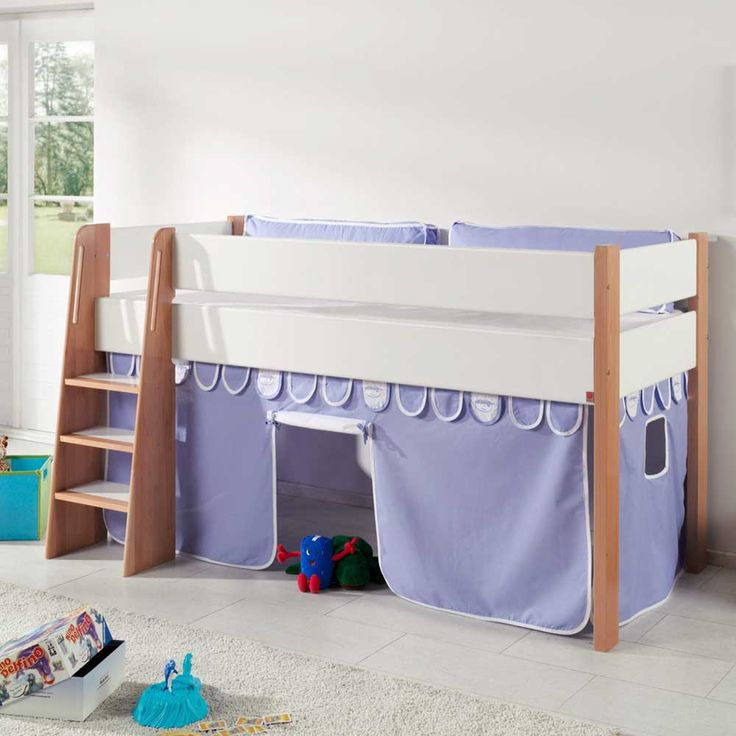 Lovely Halbhohes Kinderbett mit Vorhang in Blau Wei kaufen Jetzt bestellen unter https moebel ladendirekt de kinderzimmer betten kinderbetten uid udcbc