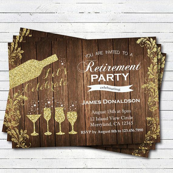 Retirement party invitation. Rustic wood and gold. by CrazyLime