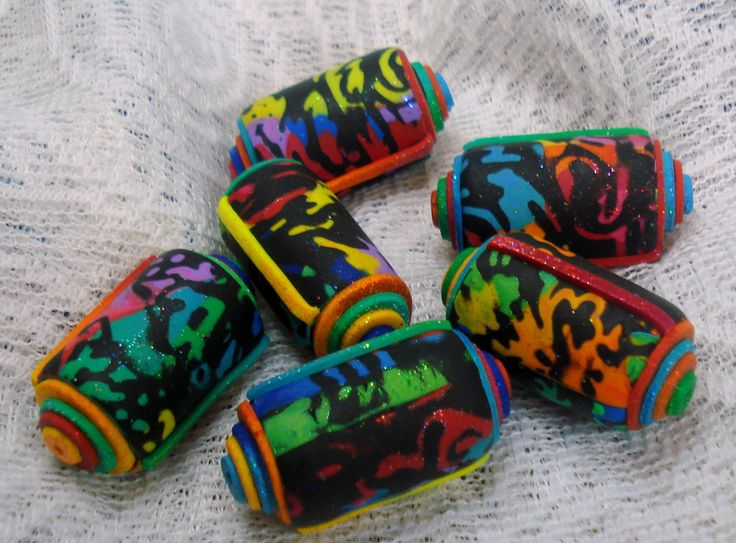 Black tube rainbows- polymer clay handmade glittering beads jewelry craft keyrings charms necklace unique art pieces iris by 1000and1 on Etsy